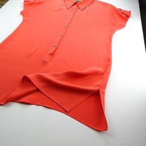 St. John Silk Women's T-Shirt Mini Dress Orange